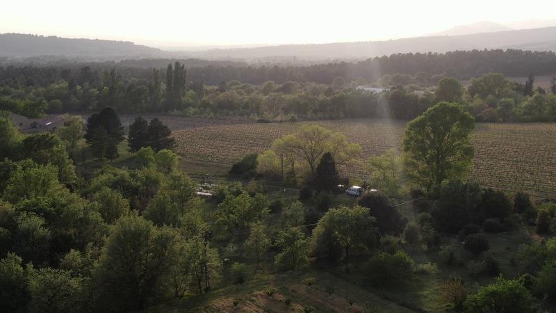 la roseraie de Gérenton vu depuis le ciel à Bédoin dans le vaucluse en provence