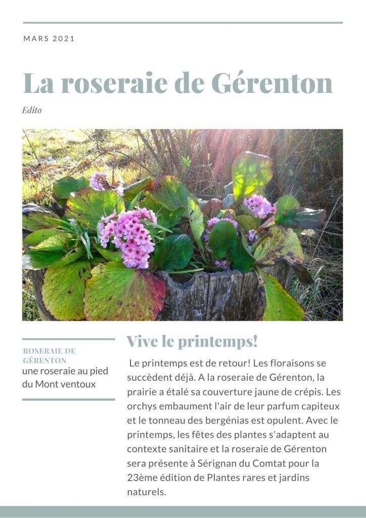 L'édito du printemps de la roseraie de gérenton